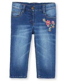Barbie Denim Capri With Floral Embroidery - Blue