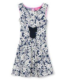 Barbie Sleeveless Floral Dress - Navy White
