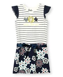 Barbie Cap Sleeves Dress Floral Print - White Navy
