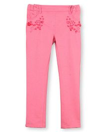 Barbie Jeggings With Textured Embroidery - Pink