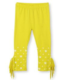 Barbie Border Print Fringe Leggings - Deep Yellow