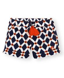 Barbie Geometric Print Turn Up Shorts - Dark Blue