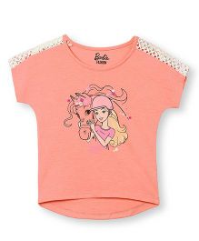 Barbie Short Sleeves Graphic Print T-Shirt With Lace Detailing - Light Orange
