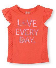 Barbie Cap Sleeves Graphic Slogan Print T-Shirt - Orange