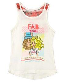 Barbie Sleeveless Graphic Print T-Shirt - White