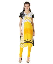 Morph Short Sleeves Maternity Kurti - Yellow Black
