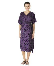 Morph Half Sleeves Kimono Style Maternity Dress - Black Purple