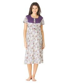 Morph Short Sleeves Maternity Nighty Floral Print - White Purple