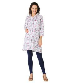 Morph Three Fourth Sleeves Maternity Shirt Dress Floral Print - White