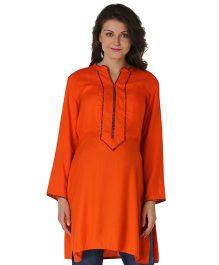 Morph Full Sleeves Maternity Kurti - Orange