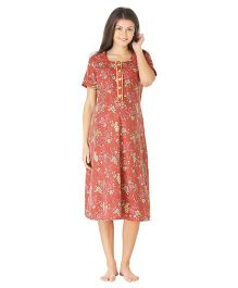 Morph Short Sleeves Maternity Nighty Floral Print - Red