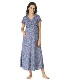 Morph Short Sleeves Maternity Nighty Floral Print - Blue