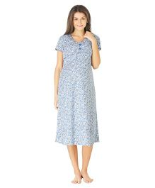 Morph Short Sleeves Maternity Nighty Floral Print - White Blue