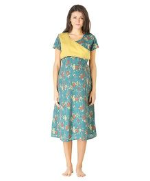 Morph Shorty Sleeves Maternity Nighty Floral Print - Green Yellow