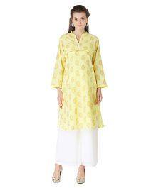 Morph Full Sleeves Maternity Kurti - Yellow