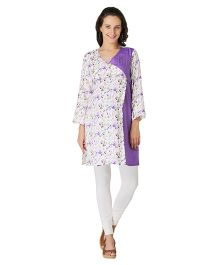 Morph Full Sleeves Maternity Kurti Floral Print - White Purple