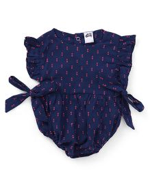 Spring Bunny Stylish Onesie With Side Tie Up - Navy Blue