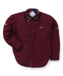 Oks Boys Party Wear Shirt With Bow - Maroon