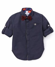 Oks Boys Party Wear Shirt With Bow - Blue