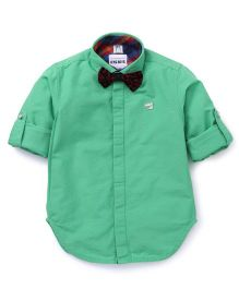 Oks Boys Party Wear Shirt With Bow - Green