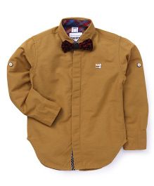 Oks Boys Party Wear Shirt With Bow - Brown
