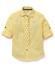 Oks Boys Party Wear Shirt With Printed Tie - Yellow