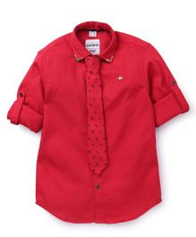 Oks Boys Party Wear Shirt With Printed Tie - Light Red