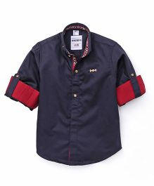 Oks Boys Full Sleeves Party Wear Shirt With Brooch - Blue