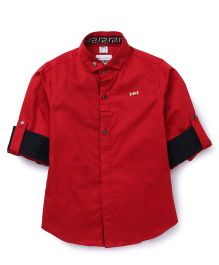 Oks Boys Full Sleeves Party Wear Shirt With Brooch - Red