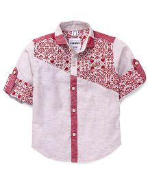 Oks Boys Full Sleeves Printed Party Wear Shirt - Red