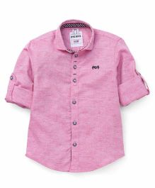 Oks Boys Full Sleeves Party Wear Shirt - Pink