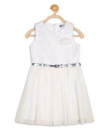 612 League Sleeveless Party Wear Lace N Net Dress With Belt - White