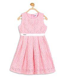 612 League Sleeveless Party Wear Lace Dress - Pink