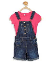 612 League Denim Dungaree With Short Sleeves Inner Tee - Blue Pink