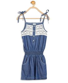 612 League Singlet Jumpsuit Dots Print And Lace Yoke - Blue
