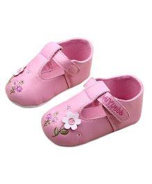 Pikaboo Embroidered Prewalker Booties - Pink