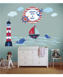 Little Jamun Nautical Wall Sticker Multi Color - Large Size
