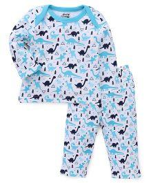Spring Bunny Dino Printed Tee & Pajama Set - Blue