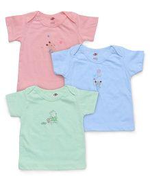 Zero Half Sleeves Set of Vests Pack Of 3 - Green Blue Pink