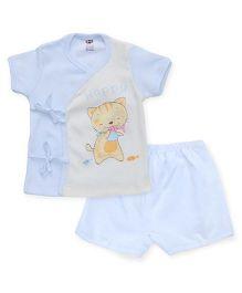 Zero Half Sleeves Top & Shorts Set Happy Kitty & Fish Print - Sky Blue