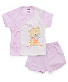 Zero Half Sleeves Top & Shorts Set Happy Kitty & Fish Print - Pink