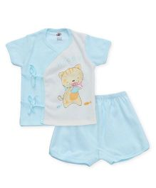 Zero Half Sleeves Top & Shorts Set Happy Kitty & Fish Print - Blue