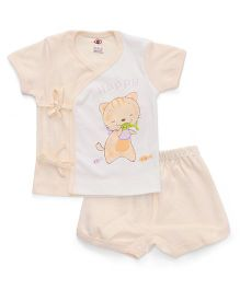 Zero Half Sleeves Top & Shorts Set Happy Kitty & Fish Print - Cream White