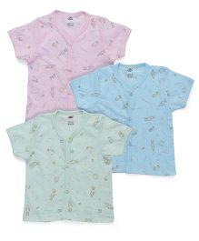 Zero Half Sleeves Vest Set Of 3 - Green Blue Pink