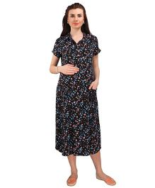 MomToBe Short Sleeves Maternity Dress - Black