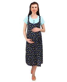 MomToBe Short Sleeves Maternity Dress Floral Print - Navy Sea Green