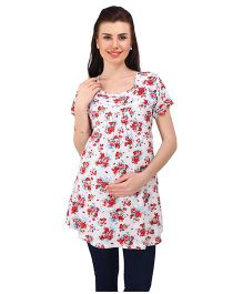 MomToBe Short Sleeves Maternity Kurti Floral Print - White Red