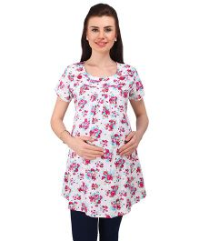 MomToBe Short Sleeves Maternity Tunic Top Floral Print - White Pink