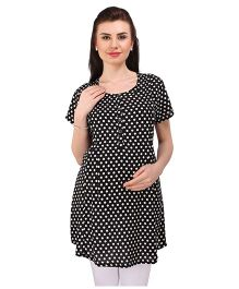MomToBe Short Sleeves Dotted Maternity Tunic Top - Black White