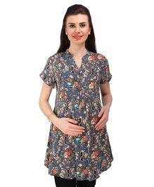 MomToBe Short Sleeves Maternity Tunic Top Floral Print - Blue